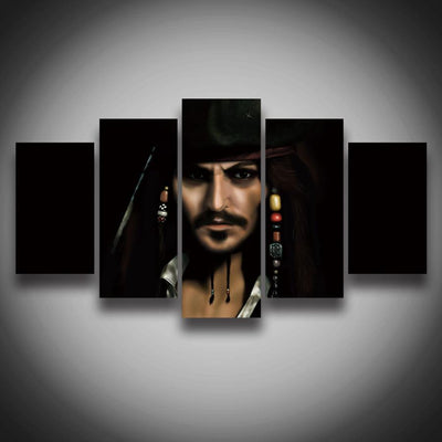 TEEPEAT Canvas Captain Jack Sparrow Painting - 5 Piece Canvas