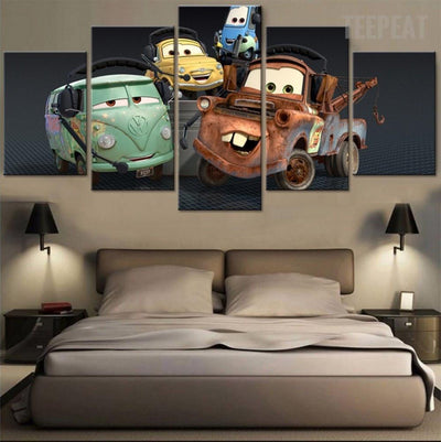 TEEPEAT Canvas Cartoon Car Game Character Characters - 5 Piece Canvas Painting