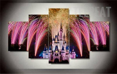 TEEPEAT Canvas Castle and Fireworks - 5 Piece Canvas Painting