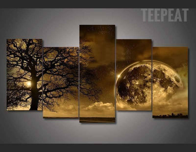 TEEPEAT Canvas Celestial Body Landscape View - 5 Piece Canvas