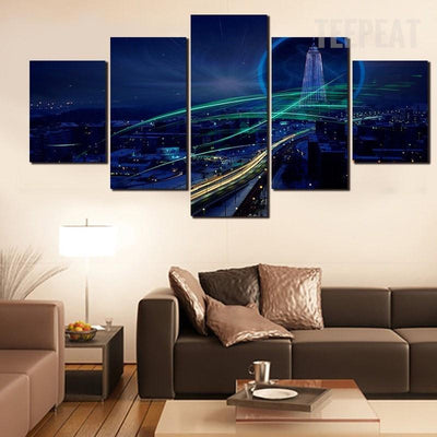 TEEPEAT Canvas Charming Night Painting - 5 Piece Canvas