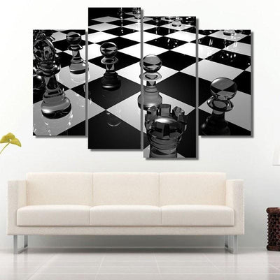 TEEPEAT Canvas Chess Board Black and White - 4 piece canvas