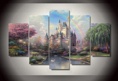 TEEPEAT Canvas Cinderella's Castle Painting - 5 Piece Painting
