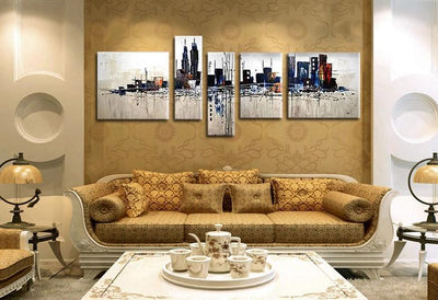 TEEPEAT Canvas City Building Painting - 5 Piece Canvas