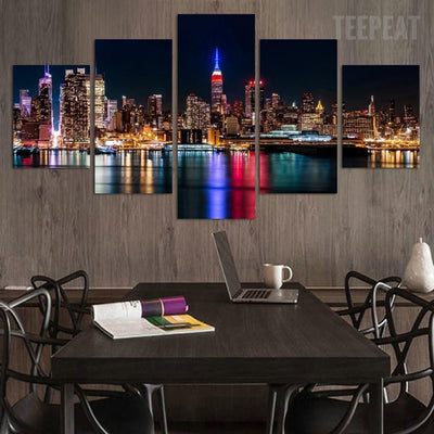 TEEPEAT Canvas City Night And Bridge Painting - 5 Piece Canvas