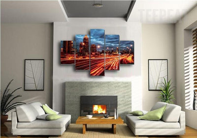 TEEPEAT Canvas City Night Lights Painting - 5 Piece Canvas