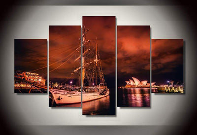 TEEPEAT Canvas City of Sydney Painting - 5 Piece Canvas