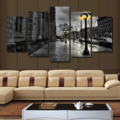 TEEPEAT Canvas City Street Landscape View - 5 Piece Canvas