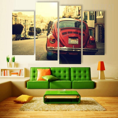TEEPEAT Canvas Classic Volkswagen Beetle - 4 piece canvas
