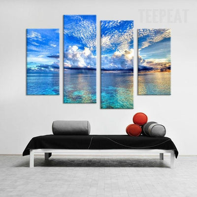 TEEPEAT Canvas Clear Sky and Calm Sea Painting - 4 Piece Canvas