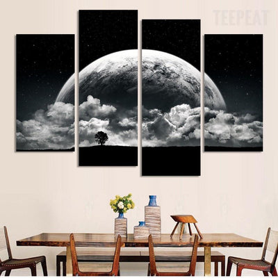 TEEPEAT Canvas Close-up View Of Planet Painting - 4 Piece Canvas