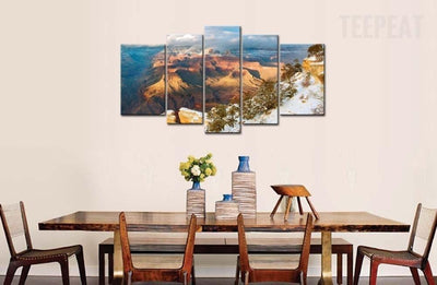 TEEPEAT Canvas Clouds, Trees and Iced Mountain - 5 Piece Canvas Painting