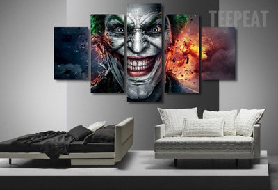 TEEPEAT Canvas Clown Heath Ledger  of Dark Knight - 5 Piece Canvas
