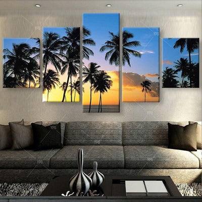 TEEPEAT Canvas Coconut Trees At The Beach Painting - 5 Piece Canvas
