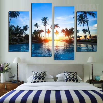 TEEPEAT Canvas Coconut Trees Before The Beautiful Sunset Seaview - 4 Piece Canvas