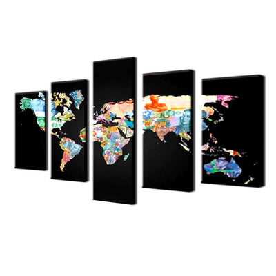 TEEPEAT Canvas Colored World Map - 5 Piece Canvas