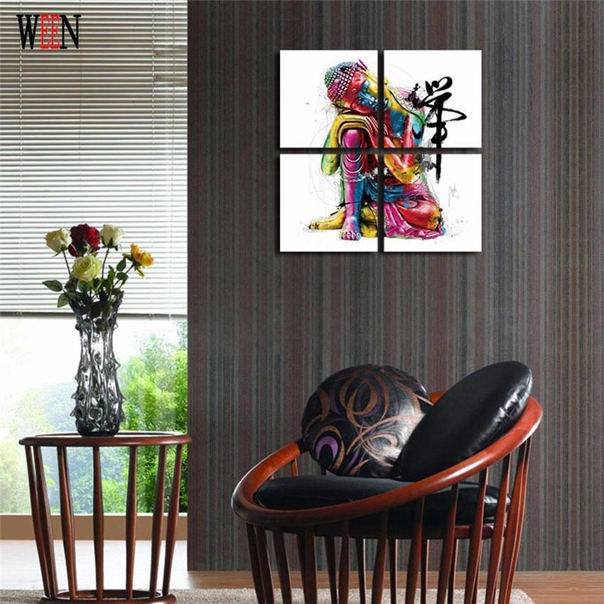 Colorful Buddha - 4 Piece Canvas Painting