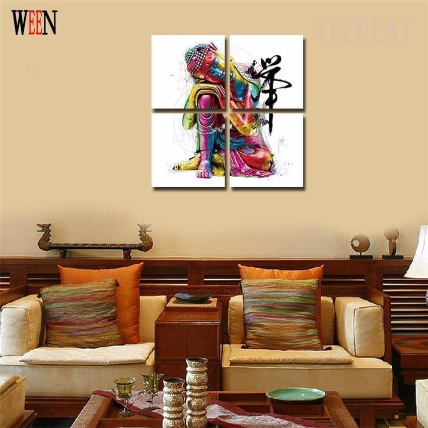 Colorful Buddha - 4 Piece Canvas Painting - Empire Prints