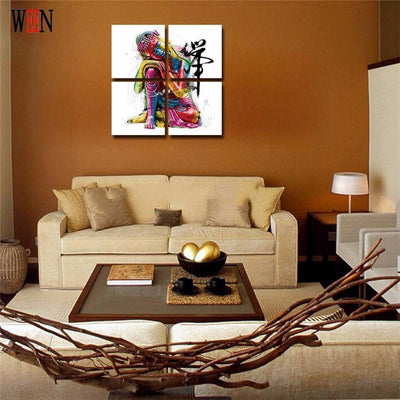 TEEPEAT Canvas Colorful Buddha - 4 Piece Canvas Painting