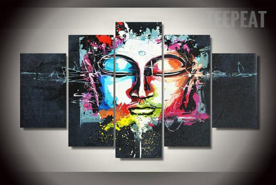 TEEPEAT Canvas Colorful Buddha Painting - 5 Piece Canvas