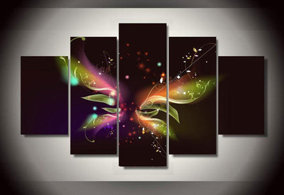 TEEPEAT Canvas Colorful Butterfly Painting - 5 Piece Canvas