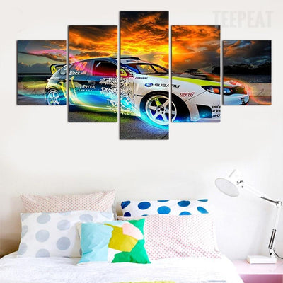 TEEPEAT Canvas Colorful Car Poster - 5 Piece Canvas