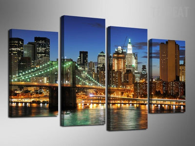TEEPEAT Canvas Colorful City Lights - 4 Piece Canvas