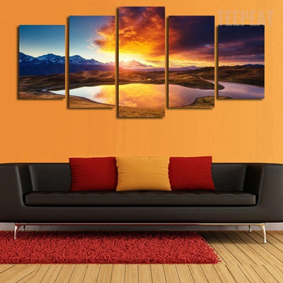 TEEPEAT Canvas Colorful Clouds, Mountains and Lake Landscape - 5 Piece Canvas