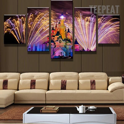 TEEPEAT Canvas Colorful Dream Castle Under Elegant Fireworks - 5 Piece Canvas