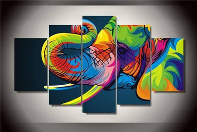 TEEPEAT Canvas Colorful Elephant Cuadros - 5 Piece Canvas
