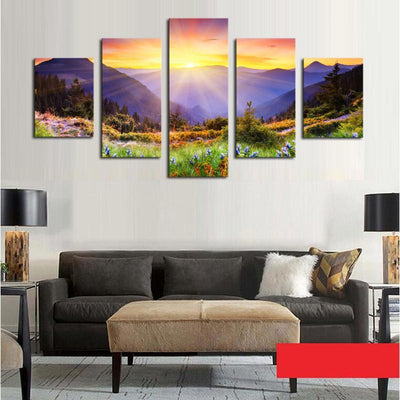 TEEPEAT Canvas Colorful Hill Painting - 5 Piece Canvas
