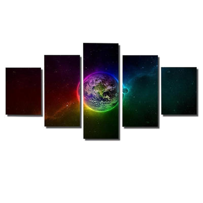 TEEPEAT Canvas Colorful Outer Space - 5 Piece Canvas Painting
