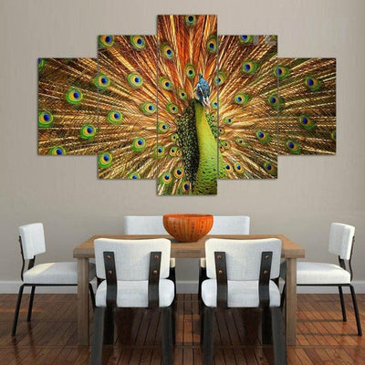 TEEPEAT Canvas Colorful Peacock- 5 Piece Canvas Painting