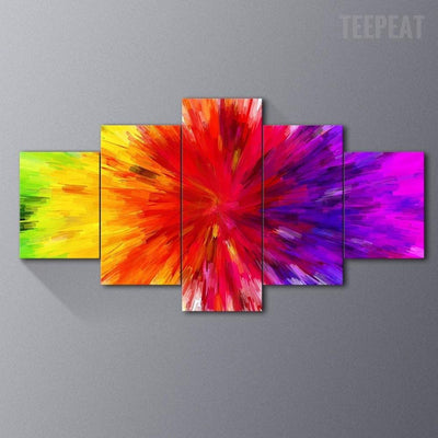TEEPEAT Canvas Colorful Rainbow Painting - 5 Piece Canvas