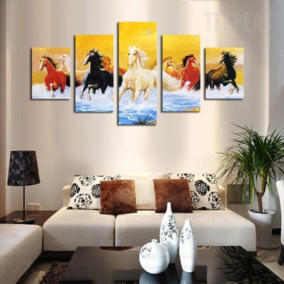 TEEPEAT Canvas Colorful Running Horses - 5 Piece Canvas