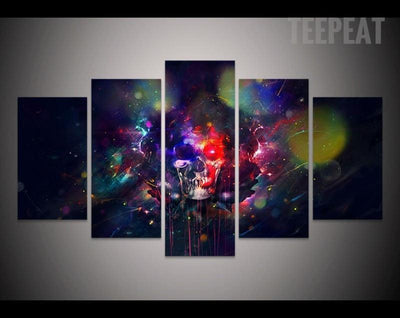 TEEPEAT Canvas Colorful Skull Painting - 5 Piece Canvas