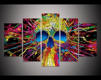 TEEPEAT Canvas Colorful Skull V2 Painting - 5 Piece Canvas