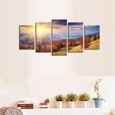 TEEPEAT Canvas Colorful Trees and Beautiful Mountain Landscape - 5 Piece Canvas