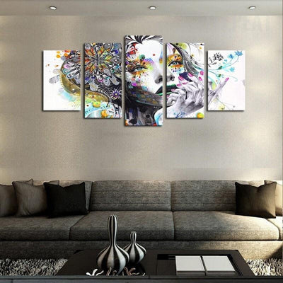 TEEPEAT Canvas Colorful Woman Face - 5 Piece Canvas