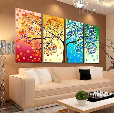 TEEPEAT Canvas Colourful Leaf Trees Cuadros - 4 Piece Canvas Painting