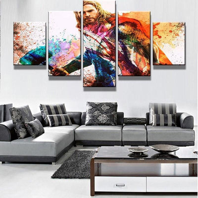 TEEPEAT Canvas Colourful Thor In Landscape View - 5 Piece Canvas