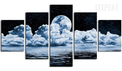 TEEPEAT Canvas Cumulus Clouds in the Night Sky Painting - 5 Piece Canvas