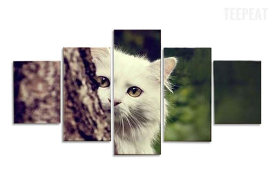 TEEPEAT Canvas Cute Little White Cat Hiding On The Tree - 5 Piece Canvas