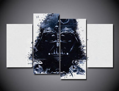 TEEPEAT Canvas Darth Vader Painting - 4 Piece Canvas