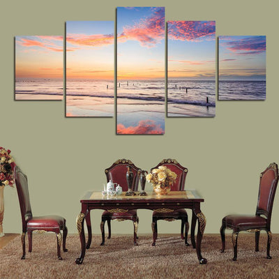 TEEPEAT Canvas Dawn By The Shore Painting - 5 Piece Canvas
