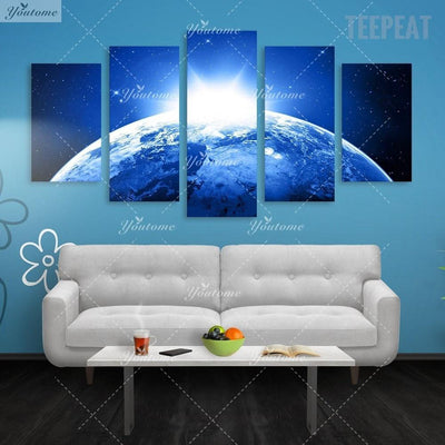 TEEPEAT Canvas Dawn Of The Universe Painting - 5 Piece Canvas