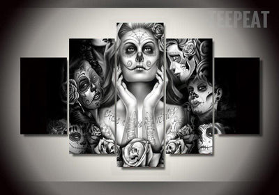 TEEPEAT Canvas Day of the Dead Face - 5 Piece Canvas Painting