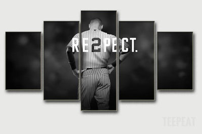 "TEEPEAT Canvas Derek Jeter ""RE2PECT"" - 5 Piece Canvas Painting"