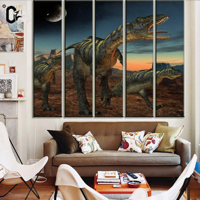 TEEPEAT Canvas Dinosaurs Under The Moonlight - 5 Piece Canvas