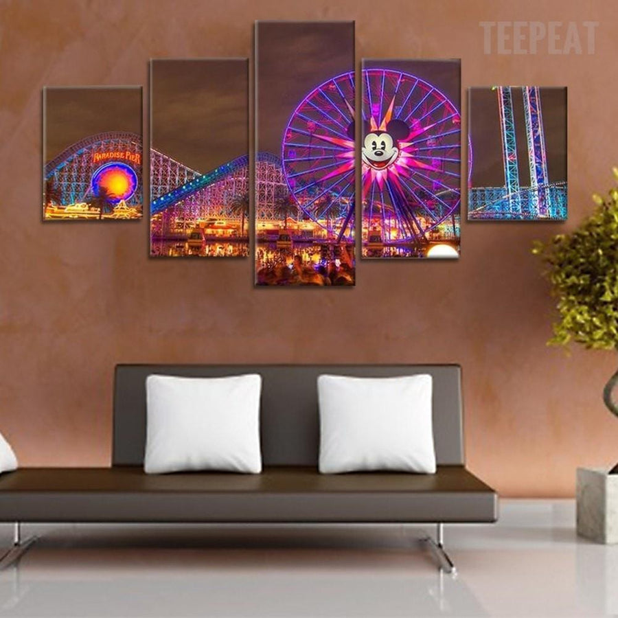 Disney At Night Time - 5 Piece Canvas